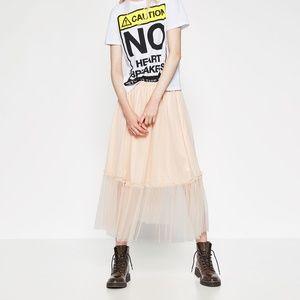 ZARA Tulle Midi Skirt:Pale Pink, US M/EUR M